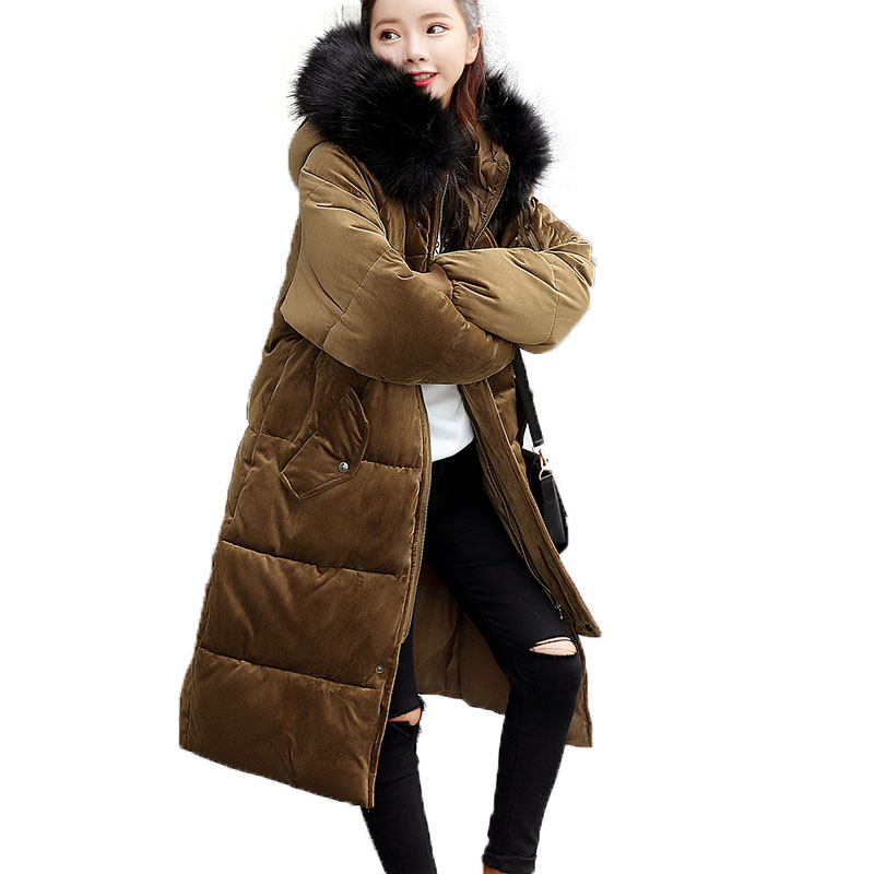 2017 New Women Winter Long Jacket Female Fur Collar Hooded Parka Cotton Padded Coats Fashion Thick Jacket Plus Size Outwear womens coats and jackets thick fur collar winter jacket women hooded cotton wadded jacket parka female outwear maxi coats c3708