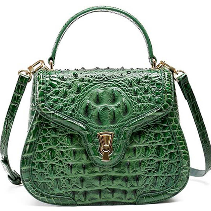High-grade 2018 Fashion New Women Aligator Messenger Crossbody Genuine Leather Bags Shoulder Handbag Lady Crocodile skin Bag new split leather snake skin pattern women trunker handbag high chic lady fashion modern shoulder bags madam seeks boutiquem2057