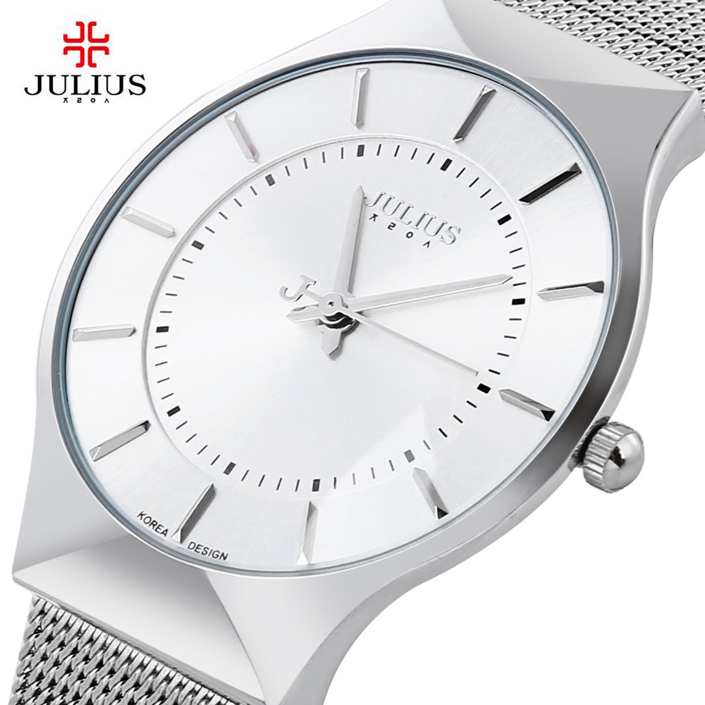 Top Brand Julius Men Watch Stainless Steel Band Analog Display Quartz Wristwatch Ultra Thin Dial Men's Watches Relogio Masculino brand julius women watches ultra thin leather strap watch band analog display quartz wristwatch luxury watches relogio feminino