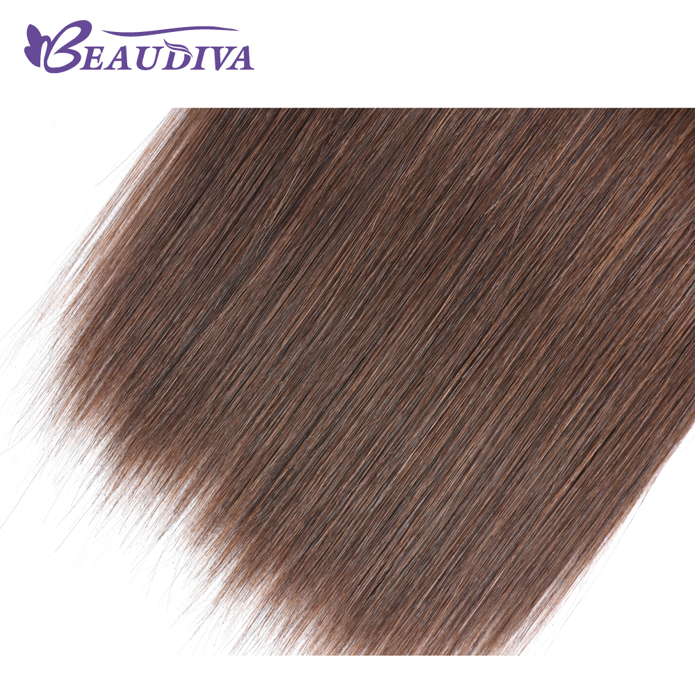 Beaudiva Pre Colored Hair Weave Straight Human Hair Bundles 4 Pieces #4 Light Brown Malaysian Hair Weave Bundles Non Remy Hair-in Hair Weaves from Hair Extensions & Wigs    3