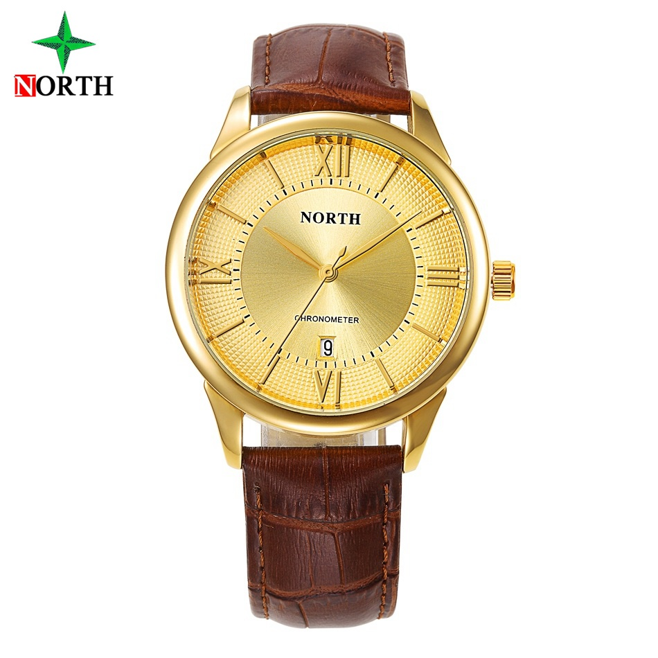 NORTH Luxury Gold Men Dress Watches Minimalism Classic Genuine Leather Waterproof Golden Casual Business Male's Wristwatch