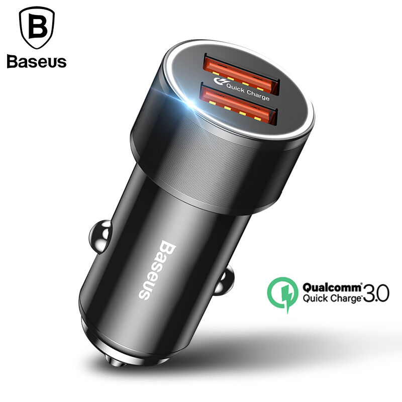 Baseus 36 w Dual USB cargador rápido QC 3,0 cargador de coche para iPhone 8 Samsung S9 Mini Car-cargador teléfono Celular adaptador de viaje cargadores
