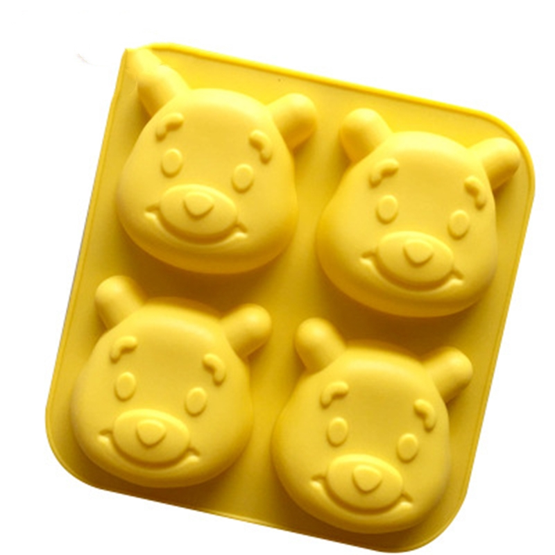 3D Silicone Soap Mold 4 Cartoon Bear Moon Cake Mold Bear Kitchen Baking Tool DIY Handmade Easy Release Mold Easy To Clean KK30