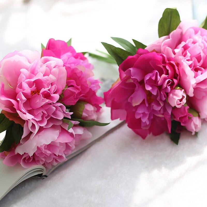 1 Bouquet Artificial Peony Flower Bouquet Bunch In Fuschia Christmas