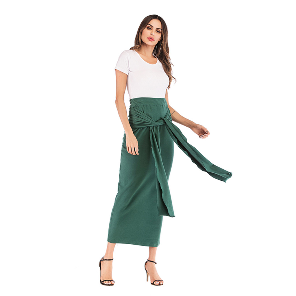 2019 Sexy Women Bodycon Long Skirt Bandage High Waist Tight Maxi Skirts Club Party Wear Elegant Pencil Skirt Casual Skirts(China)
