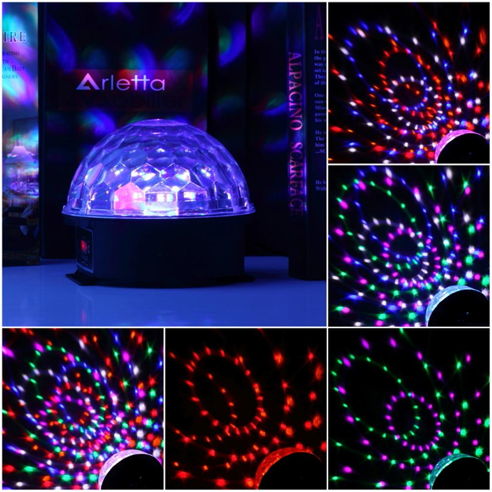 stage lamp geluid controle 6 kleuren magic crystal ball disco light ...