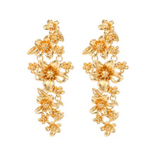 Brand Za Designer Style Fashion New Luxury Gold Color Metal Flower Plant Statement Dangle Boho Earrings For Women 2019 Jewelry