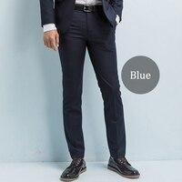 Marca-roupas Terno Calças dos homens Homens de Negócios Casuais Calças Slim Fit Calças de Sarja-Rugas resistentes Dos Homens de Negócios vestido Calças