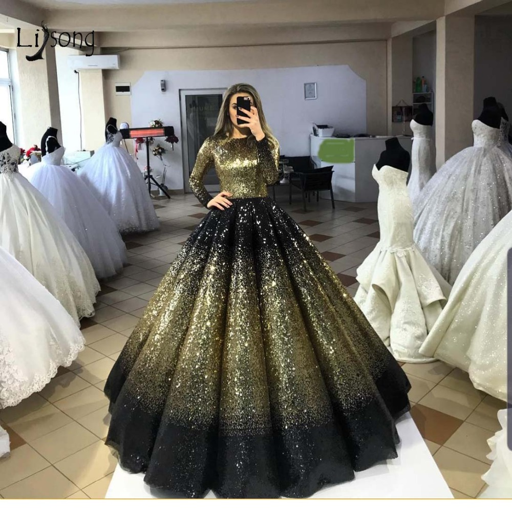 Bling Bling Gold- Black Puffy Sequined Prom Dresses High Collar Full Sleeves Muslim Long Prom Gowns Luxury Abiye Party Dresses