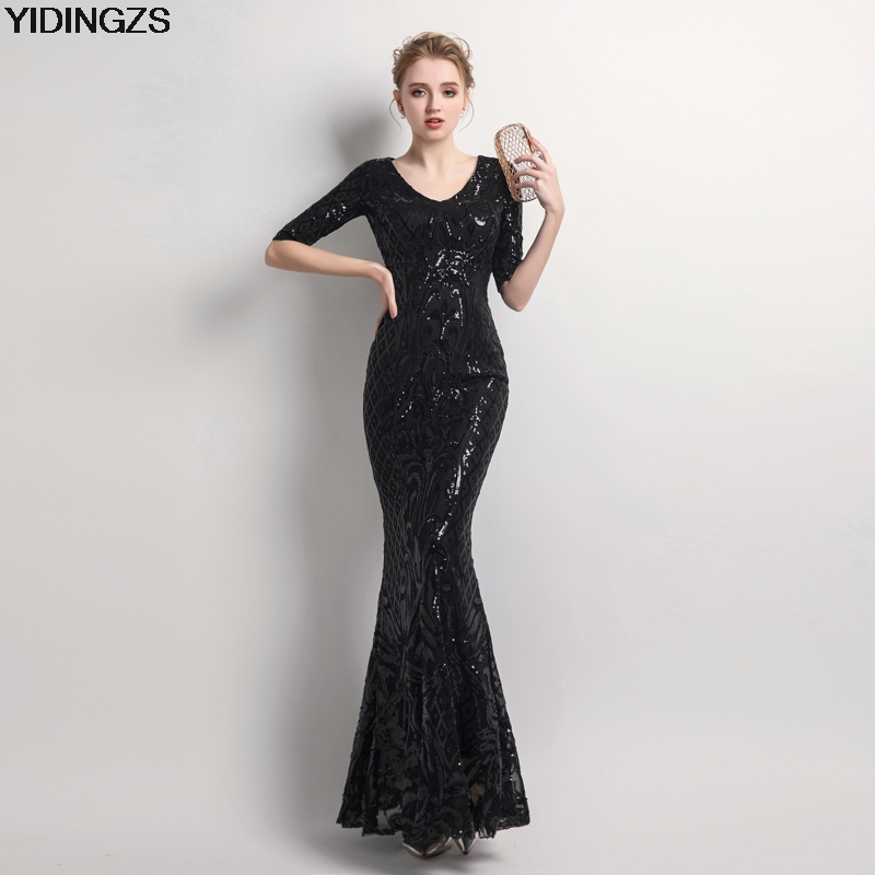 YIDINGZS Women's Elegant Mermaid Black Sequins   Dress   Half Sleeve Party Long   Prom     Dress