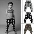 2016 Baby Boy Harem Pants Kids Girls Cross Star Pattern Pants boys Choses 100% Cotton Girls Boys Trousers 9 M-3Years Baby Pants