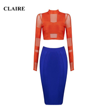 Claire 2016 Summer Online Shop Clothing Yellow and Blue O Neck Women Party Runway Dress HL 2 Two Pieces Bandage Dresses CS1823