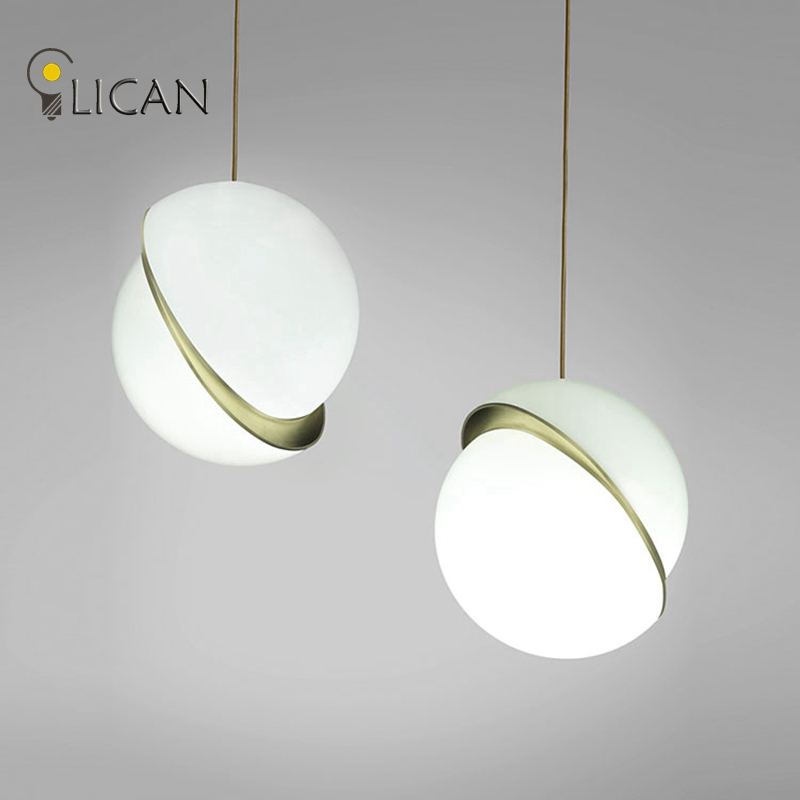 LICAN Denmark designs round balls Pendant Lights Creative Round Moon Brass Suspension Pendant lamp for Dining room Living room