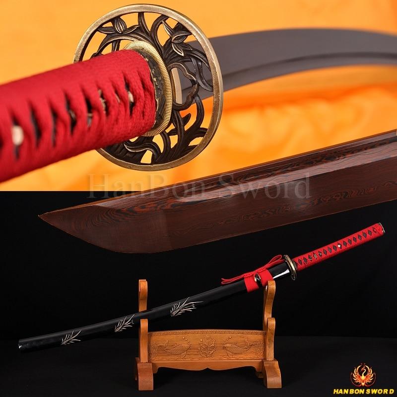 Hand Forged Handmade Japanese Sword Cherry Tsuba Katana Sword Full Tang Sharp