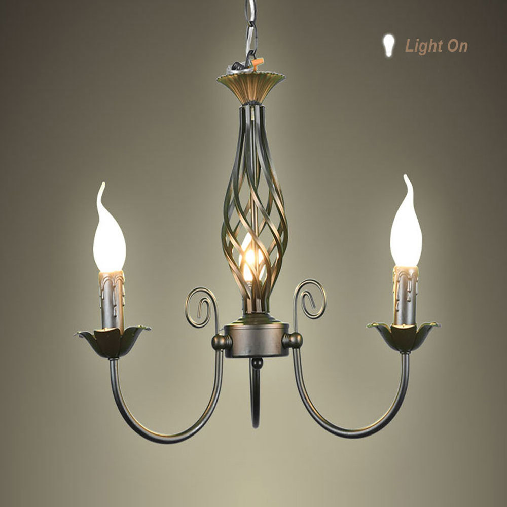 Free shipping Wrought Iron chandelier  Pendant lam LED chandeliers for home livingroom bedroom price 3pcs E14 LED bulb free shipping candle lamp wrought iron restaurant bedroom chandeliers rural white candle wrought iron pendant led lights