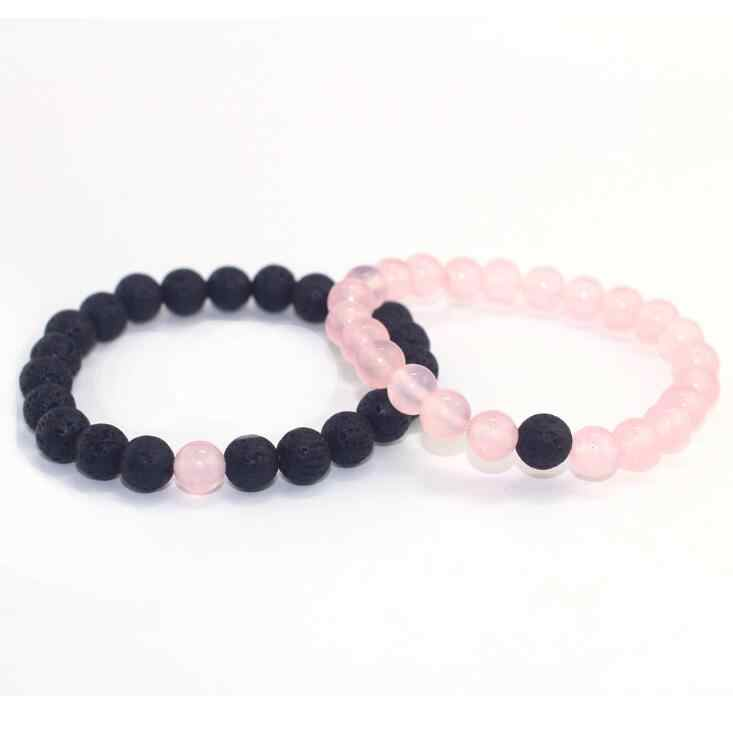 2Pcs/Set Classic Distance Bracelet Sets Natural Stone Pink Black Beaded Bangles Bracelets Couple Jewelry Best Friend gift Hot