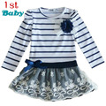 Hot Sale New Autumn Baby Girls clothes Dress Striped Bow Long-Sleeved Lace Princess Casual Dress For Party free shipping