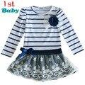 Venta caliente Nuevo Otoño de los Bebés ropa Vestido de Rayas Arco Princesa de Encaje de Manga Larga Casual Vestido De Partido Del envío gratis