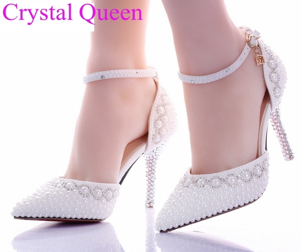 wedding heels White pearl rhinestone wedding shoes ultra high heels thin  heels shoes pointed toe bridal pumps sandals 4f4a34e89e83