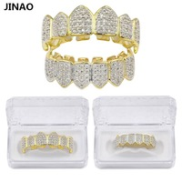 JINAO Hip Hop Teeth Grillz GOLD Color Silver Plated Micro Pave CZ Gold Fang Top Bottom
