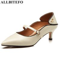 ALLBITEFO brand genuine leather women heels high heel shoes thin heels pointed toe sexy ladies office formal buckle shoes girls