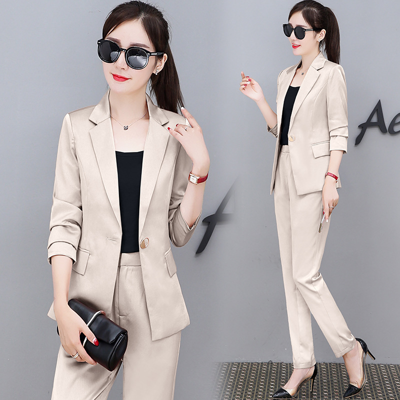 Fashion Ol Pant Suits 2 Piece Set For Women Single Buttuon Blazer