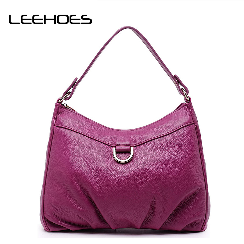 Genuine Leather Women Shoulder Bag Rose Red Fashion Leather Tote Shoulder Bag Bolsas Femininas Large Capacity Casual Women Bags fashion women genuine leather handbags large capacity tote bag oil wax leather shoulder bag crossbody bags for women