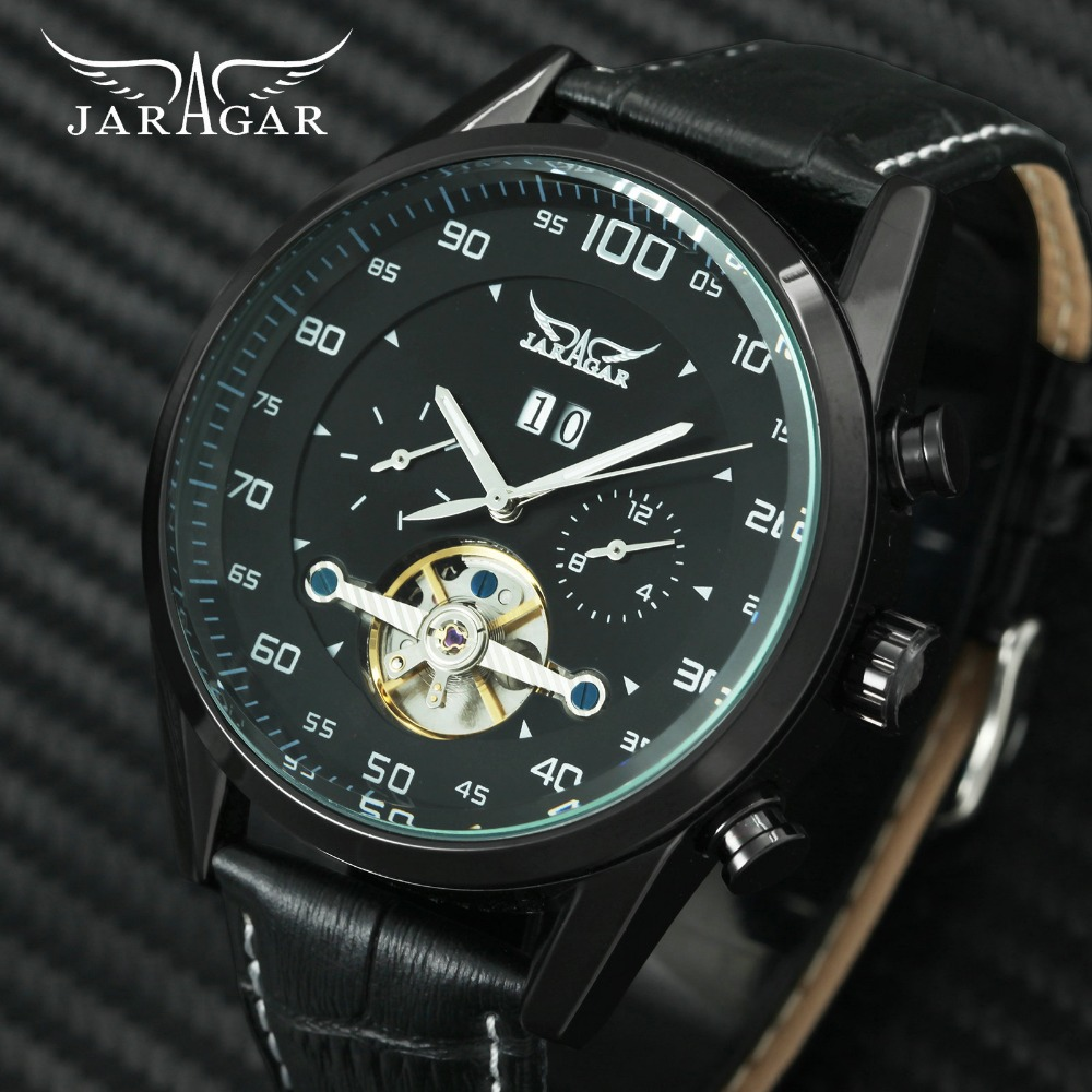 JARAGAR Military Fashion Automatic Watch Men Tourbillon Mechanical Mens Watches Calendar 2 Sub-dials Display Top Brand Luxury все цены