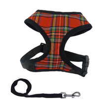 Soft Mesh font b Tartan b font Checkered Dog Harness Lead Adjustable Pets Dog Puppy Leash