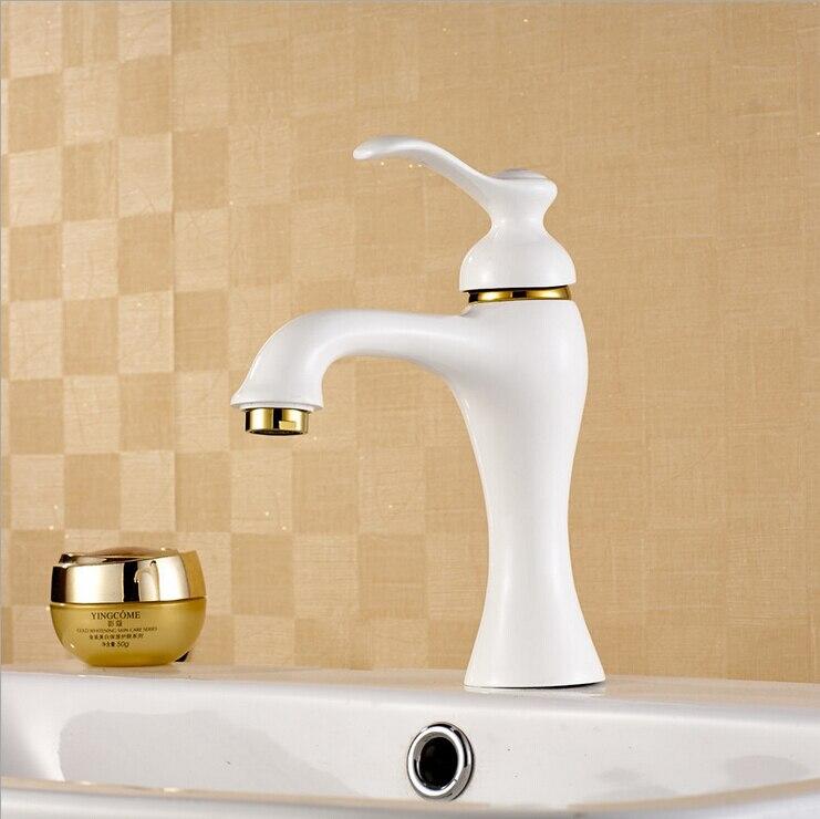 Pastoral Retro caliente y fría grifos de baño de cobre grifo de lavabo grifo pintura blanca líder W3002 - 2