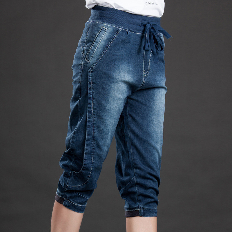 HTB1r878lIyYBuNkSnfoq6AWgVXaK - High Waist Jeans Woman Stretch Summer Denim Pants Trousers Plus Size 5XL Capri Jeans For Women Short Harem Pants Female C4553