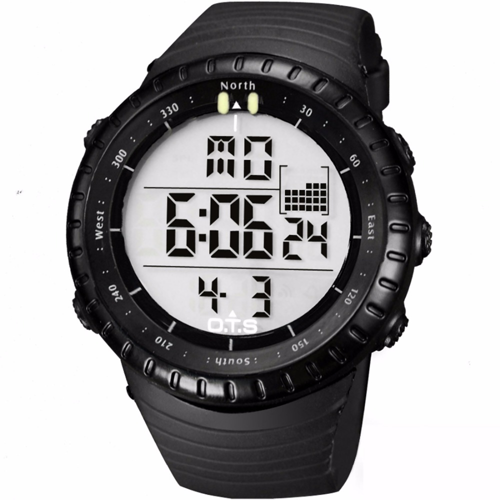 OTS Cool Black Mens Fashion Luminous LED Digital Swimming Climbing Outdoor Man Sports Watch Christmas Boys Gift Reloj Hombre wholesale free shipping china custom plastic cool light fashion big mens boy waterproof led alarm electronic digital watch