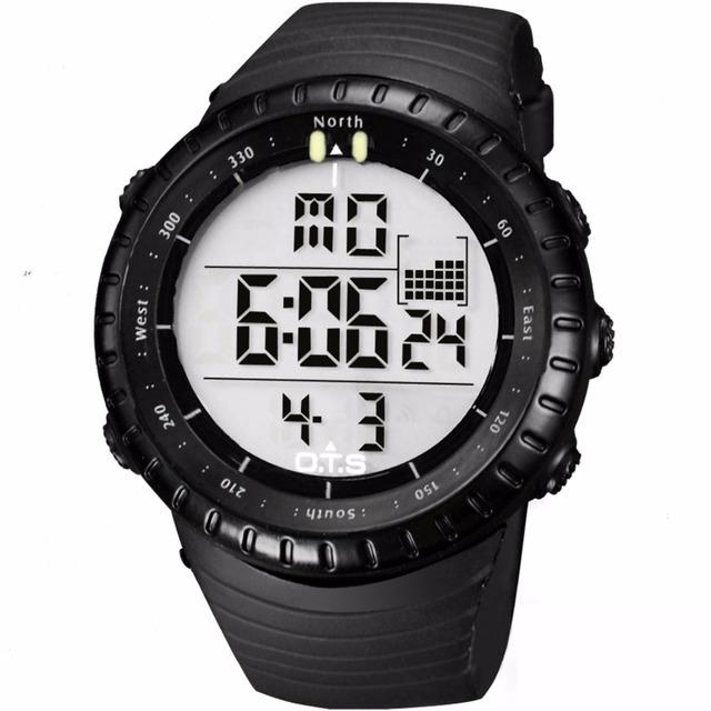 OTS Cool Black Mens Moda Luminosa LED Digital Natação Escalada Ao Ar Livre Homem Dos Esportes Relógio de Presente de Natal Meninos Reloj Hombre