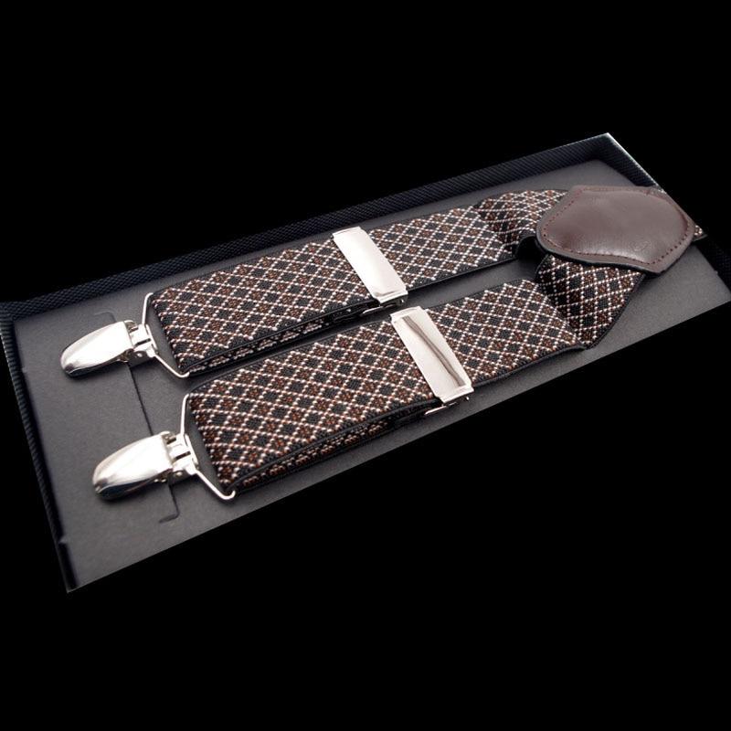 European And American Fashion 4 Clip Jacquard Men's Suspenders FY18102804