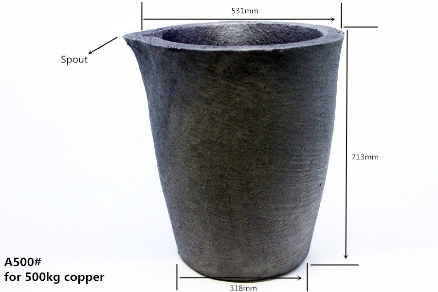 A500# sic graphite crucible     with spout   for 500 kg Copper melting Pouring Bronze    /industrial furnaces