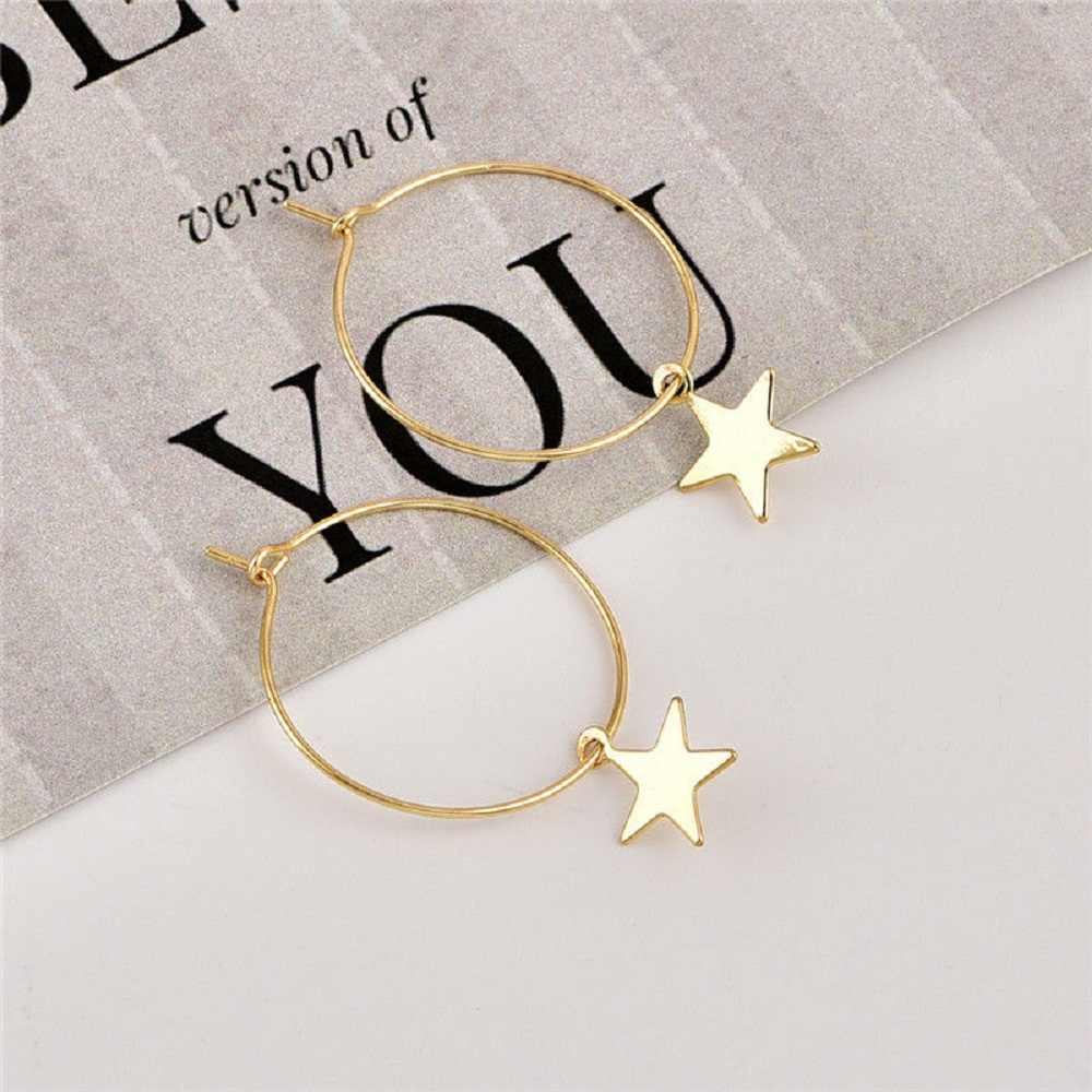 Women Bohemia Simple Large Circle Star Drop Earrings Boho Women Elegant Earring Jewelry