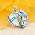35mm Narual Abalone seashells sea shells heart pendants beads jewelry making crafts stripe DIY Ethnic Chic gifts short necklace