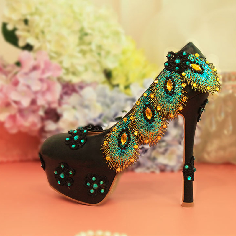 Wedding Shoes Woman Crystal Sexy High Heels Platform Luxury Peacock Feather Flower Green Pumps Rhinestone Bridal Party Shoes wedding shoes woman sexy high heels platform pumps gold bridal ladies crystal shoes party luxury rhinestone shoes plus size 43