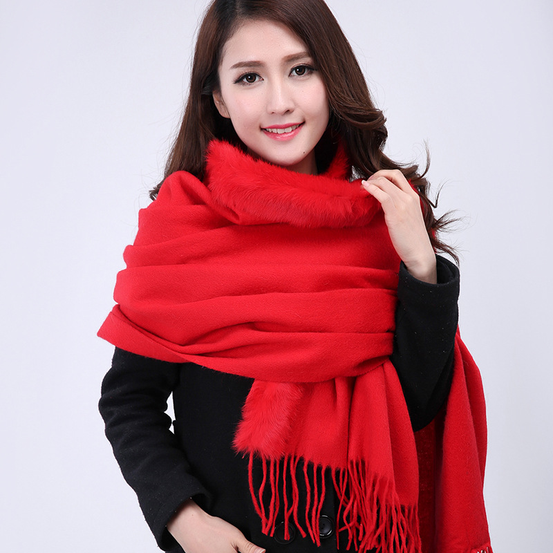 2015 Fashion Red Women's 100% Wool Cashmere Shawl   Scarves     Wrap   With Rabbit Fur Multicolor Free Shipping