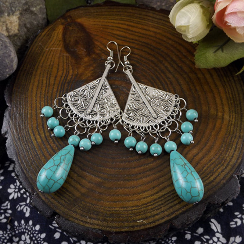 Gypsy Carved Geometry Howlite Stone Beaded Vintage Fashion Drop Dangle Earrings Retail Jewelry Gift