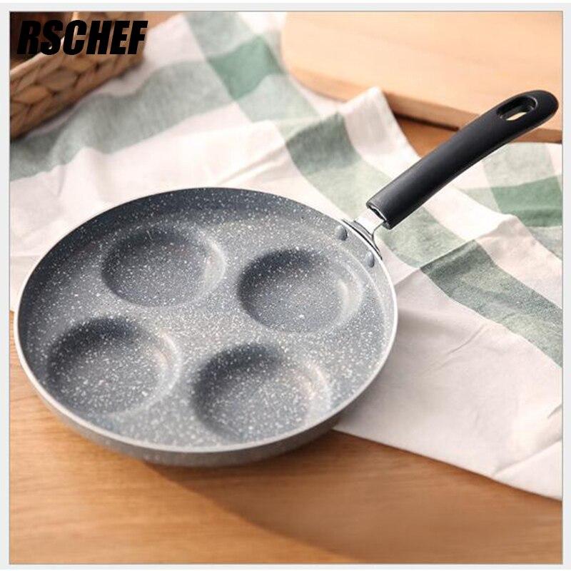 Wheat Rice Stone Gray Pan 24cm 4-hole Egg Frying Pan Non-stick Rice Stone Frying Pan Frying Pan