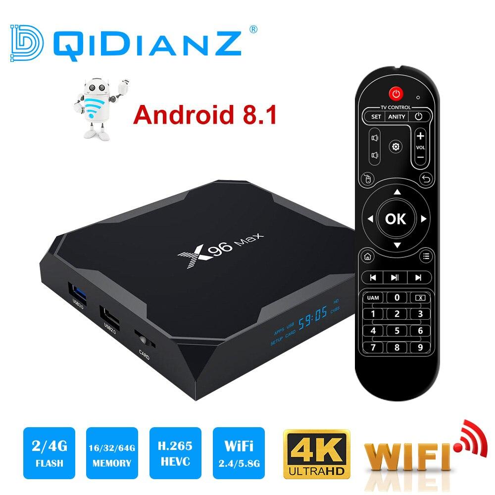 X96 Max Smart tv box Android 8.1 2,4G/5G Wifi Bluetooth 4,0 S905X2 Quad Core 4 K 1080 P Full HD Media Player X96max Set-Top Box