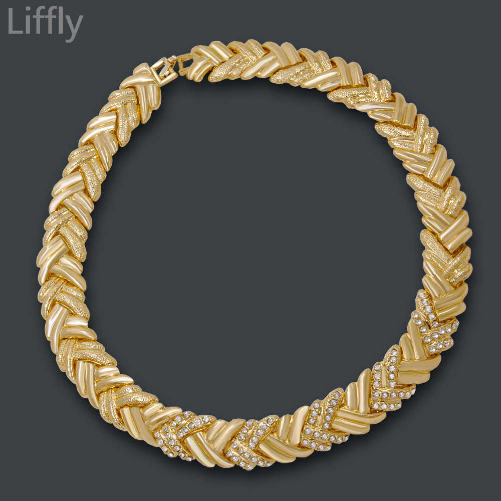 Liffly Braut Dubai Gold Schmuck Sets Kristall Halskette Armband Nigerian Hochzeit Partei Frauen Mode Schmuck Set