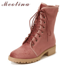цены Meotina Women Boots Autumn Ankle Boots Lace Up Chunky Heel Short Boots Fashion Round Toe Shoes Female Spring 34-39 Bottes Femmes
