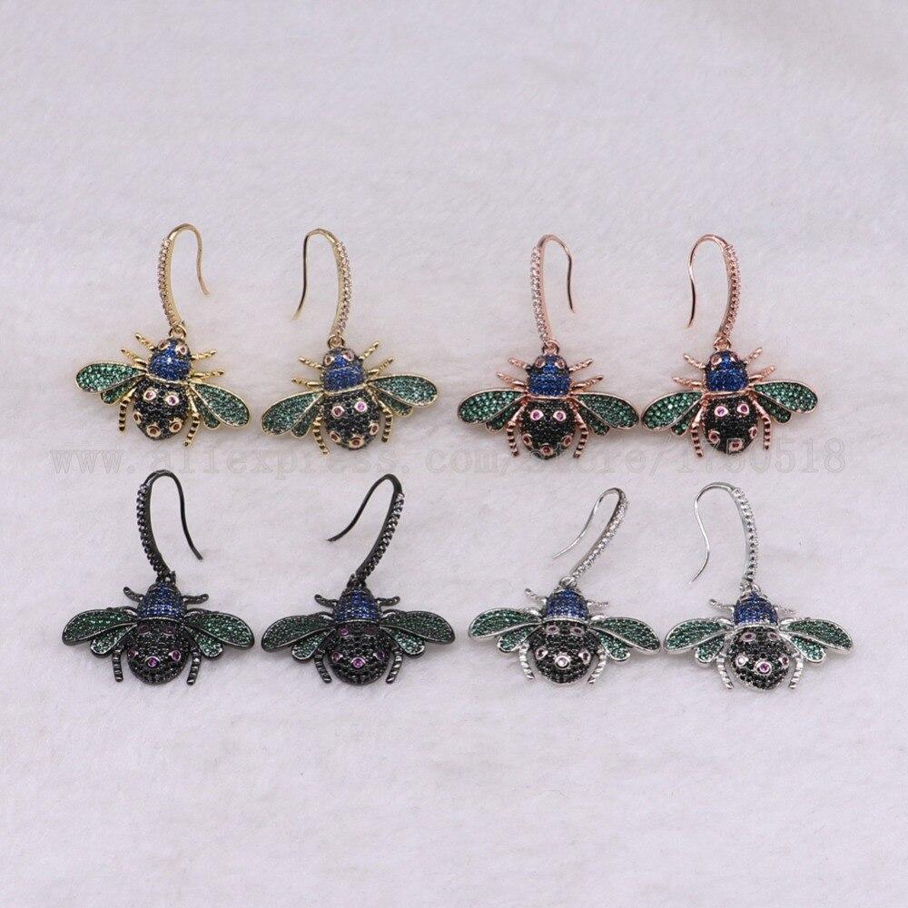 3 пары ошибок Серьги красочные насекомые Fly Би молния Серьги для леди насекомых Серьги ошибок Jewelry Серьги 3228