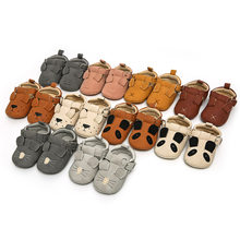 2018 Summer Brand Animal prints Baby Shoes First Walker Toddler pu Leather Shoes Infant Girls Boys Soft Baby Moccasins Boots(China)