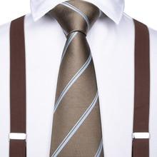 2019 DiBanGu Brown Unisex Adult Suspenders Men 3.5 Width 6 Clip Suspender Men's Tie Set Adjustable Elastic Men Braces BD011-7091 стоимость