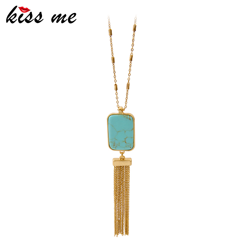 KISS ME Brand Geometric Long Necklace Nes