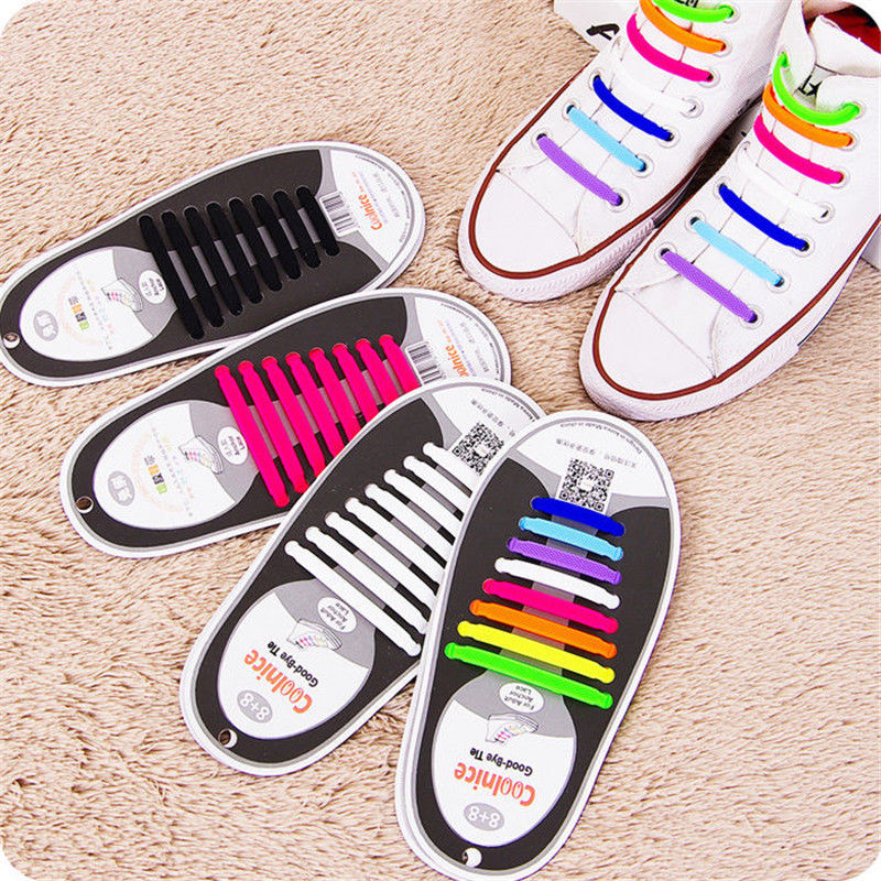 Fashion Creative Design Unisex 12pcs Easy No Tie Shoelaces Silicone Elastic Athletic Shoe Laces Sneaker Festival Party Costume