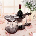 Fashion red wine rack bar decoration wood cup holder violin